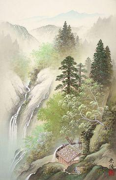 Nature painting by Japanese artist Koukei Kojima Asian Landscape, Chinese Landscape Painting, Watercolor Landscape Paintings, Japanese Painting, Nature Paintings, Chinese Painting, Flower Art Images, Waterfall Paintings, Art Asiatique