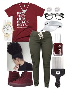 """""""Untitled #281"""" by dionnadanielle ❤ liked on Polyvore featuring Vans, Essie, NIKE, Charlotte Russe and River Island"""