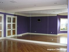 Ultimate Glass & Mirror Inc. Specializing in custom glass work and bath enclosures since 1981 Home Dance Studio, Dance Studio Design, Studio Room, Dance Rooms, Gym Room, Custom Glass, Workout Rooms, Spare Room, My Dream Home