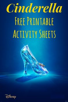 Disney's Cinderella Free Printables Activity Sheets. Includes a Clock Craft, a Maze, a Word Search & a Draw Your Own Glass Slipper Printable.