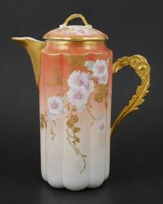Limoges Porcelain Floral Gilt Chocolate Pot