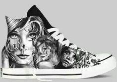 Custom Chucks by Cholo Nation Pre Order Now Chicano Love, Chicano Art, Custom Painted Shoes, Custom Shoes, On Shoes, Me Too Shoes, Cholo Art, Cholo Style, Lowrider Art