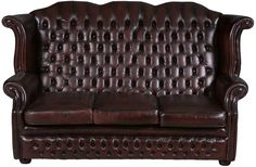 English Antique Queen Anne Style Red Leather Sofa