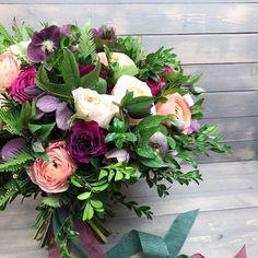 Wedding, Bridal, Bridesmaid, Bouquet, Spring, Summer, Ranunculus, Roses, Greenery, Foliage, Purple, Pink, Maroon, Burgundy, Violet