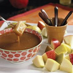 """Caramel """"Fondue"""" with Fresh Fruit // Dunk apple and pear cubes into this caramel-y dip."""