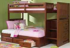 Merlot Twin Over Full Mission Staircase Bunk Bed with 3 Drawers - http://www.furniturendecor.com/merlot-twin-over-full-mission-staircase-bunk-bed-with/ - Related searches: Bedroom Furniture, Beds and Bed Frames, Furniture, Home and Kitchen