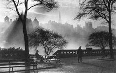 "Princes Street Gardens - Edinburgh, Scotland: ""Mist in November"" 1950s. Looking toward Old Town"