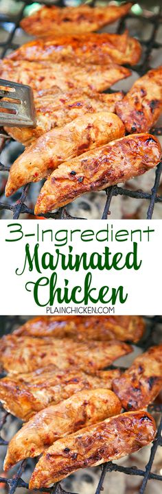 Marinated Chicken - only 3 ingredients including the chicken! Everyone loves this quick and easy marinade! I always make extra chicken for leftovers - it is great chopped up in chicken sa (Quick Chicken Marinade) Healthy Chicken Recipes, Turkey Recipes, Meat Recipes, Easy Dinner Recipes, Healthy Dinner Recipes, Easy Meals, Cooking Recipes, Dinner Ideas, Drink Recipes