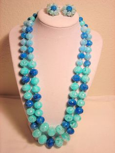 West Germany Necklace Earrings Set Crackle Lucite Sea Green Blue #WestGermany