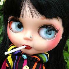 OOAK Custom Modify Face Blythe Blybe Basaak CCE Doll Custom Blythe Halloween 9