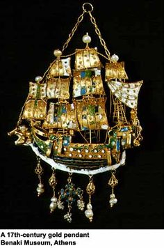Gold enameled ship pendant 17th century.
