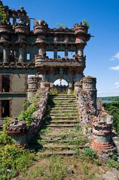 Bannerman Castle, on Bannerman Island (Pollapel) in the Hudson River, near West Point. Was actually an arsenal storing leftover weaponry from previous wars. The family lived in a separate castle on the island. Can be accessed by ferry from either shore, or by kayak guided trip.