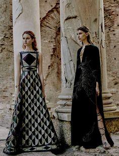 VALENTINO (Haute Couture Fall/ Winter 2015-16) - model: Leila Nda, Sofia Tesmenitskaya, Grace Simmons & Yana Van Ginneken - photographer: Fabrizio Ferri - Vogue Italia September 2015