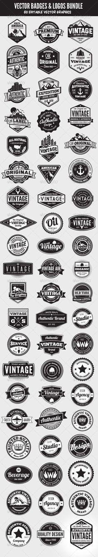 Web Elements - 60 Badges and Logos Bundle | GraphicRiver