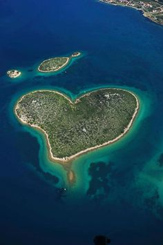This heart shaped Island is in Croatia is called Galešnjak.