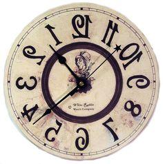 Backwards clock  Alice in Wonderland decor