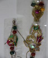 Colourful Bhaiya Bhahi Pair Rakhi with Gold n Silver Effect