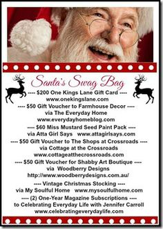 Enter to win $200 gift card at One King's Lane and lots of other Santa Swag bag prizes - Setting for Four