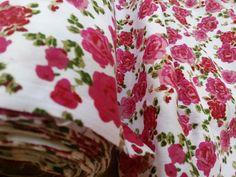 Cerise Pink Roses on White Polycotton fabric by TheFabricShopUK, £3.99