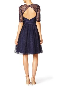 Navy Lines Dress by ML Monique Lhuillier for $40 - $70 | Rent the Runway