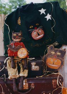 Primitive Halloween Spooky Pattern EPattern  Black Cat Sweatshirt and More  by Hickety Pickety www.sonjasandell.com $5.00