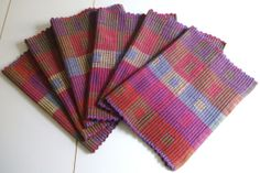 6 large pure cotton hand dyed hand woven place von JustWeaving