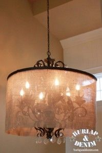 Seven years ago when my husband and I built our house, I was in love with this chandelier. It is a Kathy Ireland entry chandelier from Lamps Plus.  Well, seven years is a long time in my design eyes and the love has faded.  Even my husband was ready for a change.  I decided that what I really