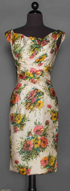 """CEIL CHAPMAN PRINTED DRESS, 1950 White silk twill w/ watercolor effect floral print, ruched midriff & bodice, label """"Ceil Chapman"""""""