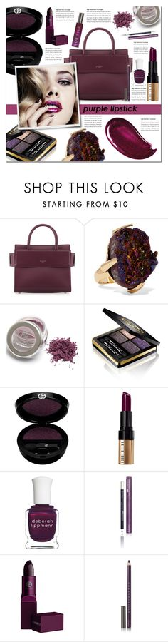 """Beauty Trend We Love: Purple Lipstick"" by pankh ❤ liked on Polyvore featuring beauty, Givenchy, Christopher Kane, Christian Dior, Gucci, Giorgio Armani, Bobbi Brown Cosmetics, Deborah Lippmann, Blinc and Lipstick Queen"