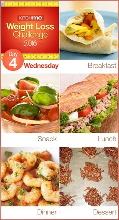 Day 4 Meal Plan Recipes – Weight Loss Challenge for Weight Watchers - Breakfast Burritos, Tomato Salad, Italian Stuffed Tuna Sandwich, Spicy Baked Shrimp, Weight Watchers Candy
