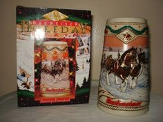 Budweiser Clydesdale 1996 Holiday American Homestead Collectors Beer Stein NEW