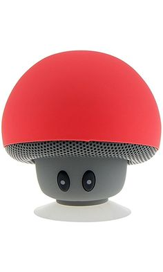 Awolf Mushroom Portable Bluetooth Wireless Mini Speaker Music Player with Suction Cup Built-in Mic Hands-free (Candy Red)
