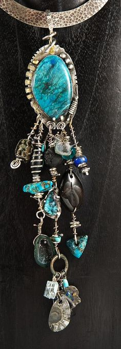 Sterling Silver, 18K Gold, Shattuckite, Morenci Turquoise, Drusy Chrysocolla, Sparkly Ancient Ammonite, Ancient Ammonite Negative, Sparkly Baby Geodes, Antique African Beads, Herkimer Diamond, Aquamarine, Black Tourmaline, Tahitian Pearl, Azurite, Lapis Lazuli, Petrified Wood, Ancient Bronze Celtic Ring
