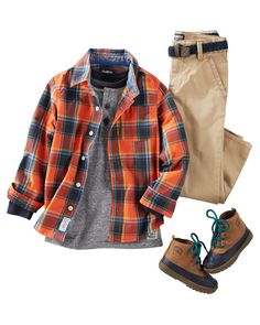 He's set for fall in orange hues and a long-sleeve henley. Classic khaki and duck boots are perfect for his campsite adventures!
