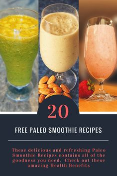 Delicious and refreshing Paleo Smoothie Recipes contains all of the goodness you need. These Paleo Smoothie Recipes are rich in fiber, vitamins, nutrients and antioxidants - helping to boost your immune system and encourage cell growth. Paleo Smoothie Recipes, Paleo Recipes, Detox Diet Drinks, Cell Growth, Immune System, Vitamins, Fiber, Good Things, Health