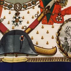 d5023b49408 Hermes Napoleon Silk Scarf Carre Philippe Ledoux Gorgeous Napoleon scarf  designed by Philippe Ledoux for Hermes