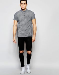 Image 4 ofFrench Connection Ditzy Print Polo Shirt