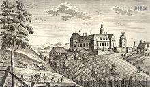 Ansicht von Schloss Fünfkirchen in meinem Heimatort Steinebrunn vom berühmten Augsburger Kupferstecher Martin Engelbrecht. Kirchen, Taj Mahal, In This Moment, History, Building, Painting, Travel, Exploring, Places