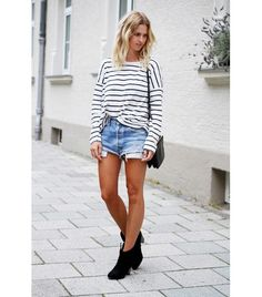 @Who What Wear - Dressed Down                 On Mija of Mija: Gina Tricot top; Levi's 501 Shorts ($58) in Slash; Celine bag; Bullboxer boots.