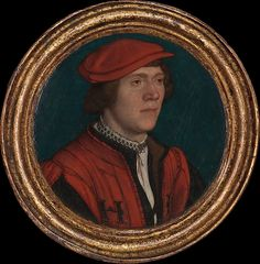 Holbein painted this small roundel about 1532–35, after his return to England. The young sitter can be identified as a court official, for he wears the livery of Henry VIII, with the initials H[R] for Henricus Rex embroidered in black on his red coat