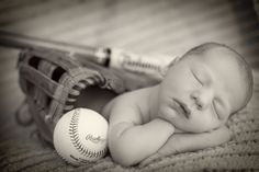 Baby boy baseball, glove & bat