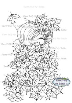 INSTANT DOWNLOAD Digi Stamps Big Eye Big Head Dolls Digi Bestie Fall Day Leaf Party By Sherri Baldy