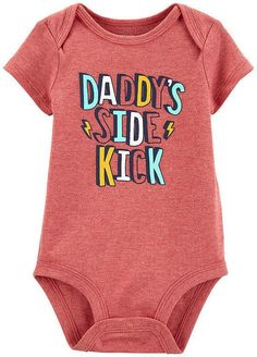 Carter's Carter Baby Boys Daddy Side Kick Bodysuit - Parenting Carters Baby Boys, Baby Kids, Daddys Little, Boy Shoes, Baby Clothes Shops, Baby Boy Outfits, Newborn Outfits, Baby Bodysuit, Kicks