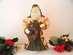 Christmas Music Box Rotating Musical Ceramic Bisque Old World Santa Claus…