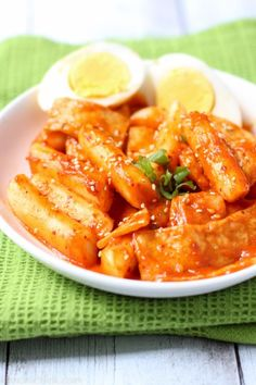 Tteokbokki is a popular Korean snack made up of chewy rice cakes and soft fish cakes in a spicy sweet chili sauce. It's easy to make and extremely addicting