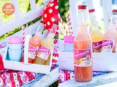 #Playdate #Snacks #Ideen #Picknick #Getränke #Rhabarberschorle #Limonade #Etikett #picnic, #idea #drinks #bottles #label