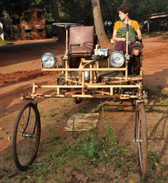 A bamboo car; come get a ride with us this winter at Sadhana Forest Compost Soil, Natural Fence, Building A Fence, Community Building, Trees To Plant, Ecology, Organic Gardening, Winter, Car