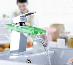 Check out our LED Waterfall Faucet - we carry a huge range of products that are ready to ship to you from Pausetwoplay Glass Waterfall, Waterfall Faucet, Bathroom Interior Design, Decor Interior Design, Ceiling Shower Head, Spa Inspired Bathroom, Glass Sink, Water Faucet, Color Changing Led