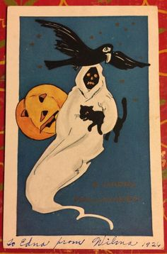"ANTIQUE VERY RARE 1926 HALLOWEEN' ""SPOOK"" POSTCARD WHITNEY MADE WORCESTER MASS"