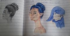 I'm back with finally an OC of mine! Her name is Amena. I was experimenting with different coloring techniques and this came out as a result. (I'm really unsatisfied with the middle one's eyes but eh.) It's done with black pen and colored pencils. It's in one of my notebooks. Photo taken with my phone.